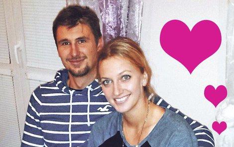 Zamilovaná Petra Kvitová se svým hokejistou.