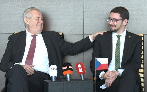 Miloš Zeman se svým hradním mluvčím Jiřím Ovčáčkem