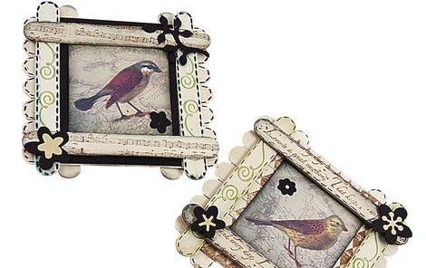 Obrázek s ptáčkem ze špachtliček.