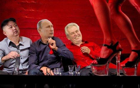 Na podobných akcích, jako bude ta v Moskvě, se dělá takzvané »family photo« všech účastníků. Zeman deklaroval, že se pokusí aspoň být co nejdál od Kim Čong-una. Teď to vypadá, že útěk nebude nutný. A podobný snímek, jako je třeba koláž Aha!, nás teď může strašit pouze v představách...