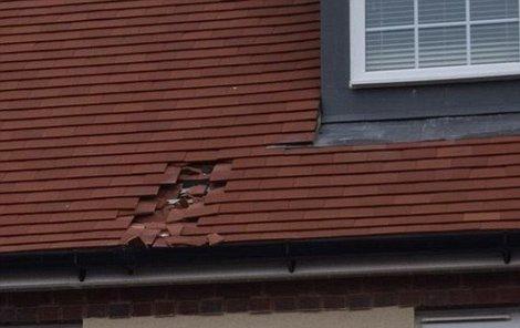 Koule zmrzlých exkrementů napáchal na střeše pořádné škody.