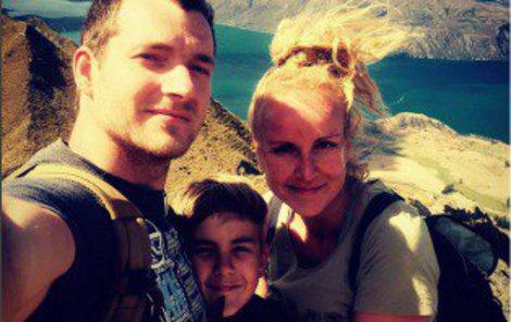 Vendy s manželem Pepou a synem Kubou na Novém Zélandu.