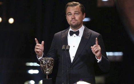 Leonardo při děkovné řeči...
