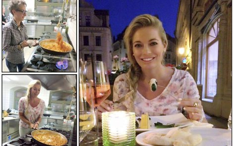 Natáčení v Itálii si užila u stolu i v kuchyni.