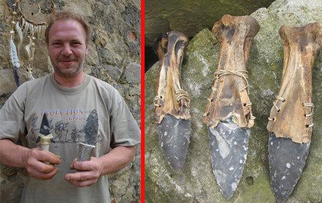 Tomáš Vidomus vyrábí nože podle starých postupů z pazourků.