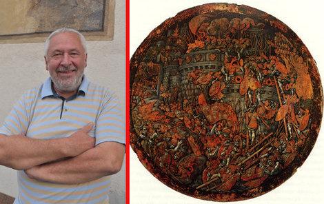 To je on. Mimořádně krásný vojenský oboustranný štít, jeho autorství je připisováno italskému malíři Girolamu da Treviso. Kóta - průměr 78 cm.