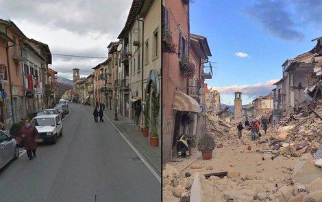Město Amatrice zemětřesení změnilo v ruiny!