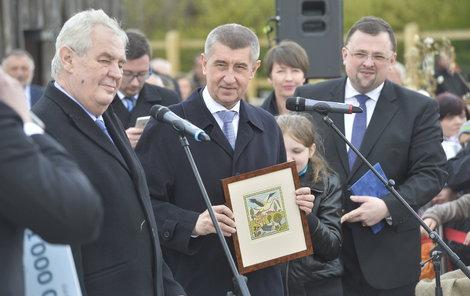 Prezident Miloš Zeman na návštěvě Čapího hnízda Andreje Babiše.