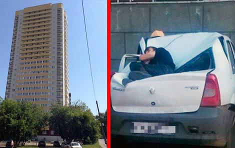 Pád z 23. patra zpravidla znamená jistou smrt... Zaparkovaný taxík zachránil Alexandrovi život.