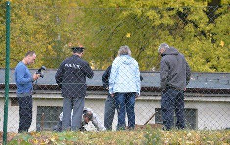 Nejprve policisté prohledávali zahradu vily detektory kovu.