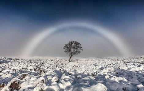 Bílá duha vzniká buď při dešti s kapkami různých velikostí, nebo lomem světla v mikroskopických kapičkách mlhy.