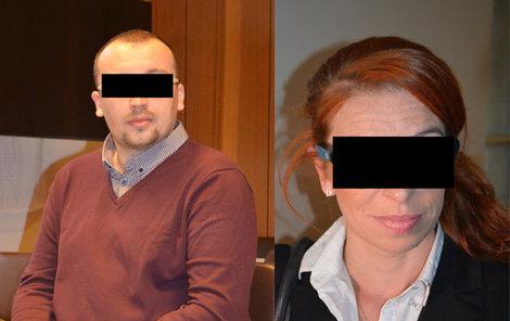 Petr H. a Renáta P. včera u soudu.