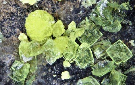 Takto vypadají krystalky brauneritu, velké jsou pouze okolo jednoho milimetru.