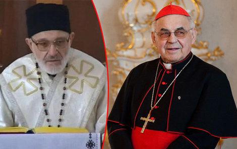 Biskup Eliáš Dohnal a nemocný kardinál Miloslav Vlk.