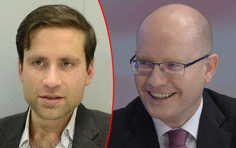 Ekonom Lukáš Kovanda a premiér Bohuslav Sobotka.