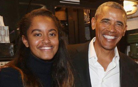 Barack Obama se svojí dcerou Maliou při návštěvě Brodway