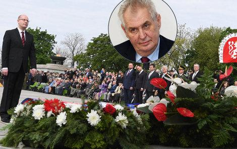 Premiér Sobotka na pietě na Vítkově nechyběl, prezident Zeman ano (8.5.2017)