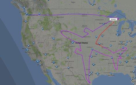 Za 16 hodin vykouzlil pilot na mapě tento obraz.