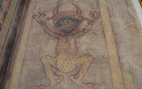 Tenhle ďáblík prý pomohl Kodex gigas dokončit. Vyobrazení je v knize vysoké téměř 50 cm.