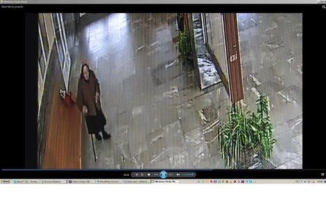 Poslední snímek z kamer na nádraží. Je vysoká 150 cm. Na hlavě měla šátek, na sobě delší hnědý kabát, v ruce hůl a červenou nákupní tašku.