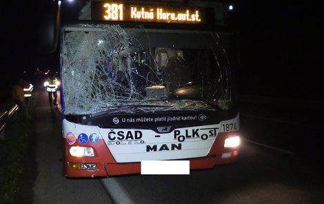 Při nárazu do velkého zvířete přišel autobus o přední sklo.