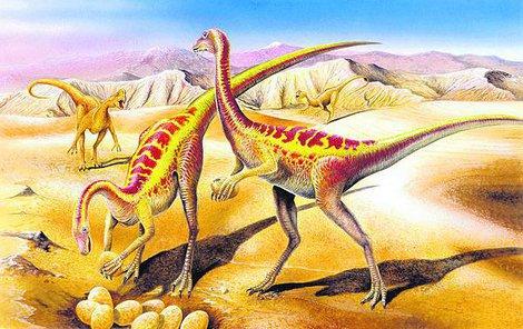 Anserimimus měl něco z kachny, něco z pštrosa. Měřil tři metry a žil v hejnech.