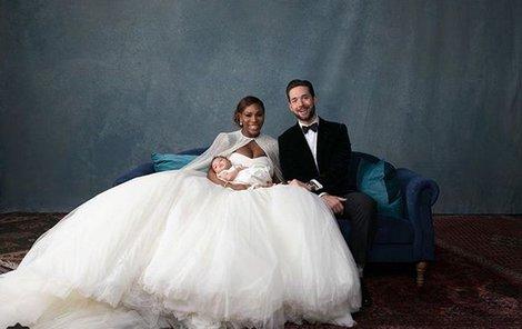 Serena Williamsová se svým manželem Alexisem Ohanianem a dvouměsíční dcerkou