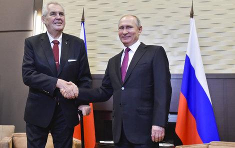 Miloš Zeman během setkání s Vladimirem Putinem.