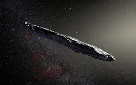 Oumuamua neboli posel má tvar doutníku, dlouhý je asi 400 metrů.
