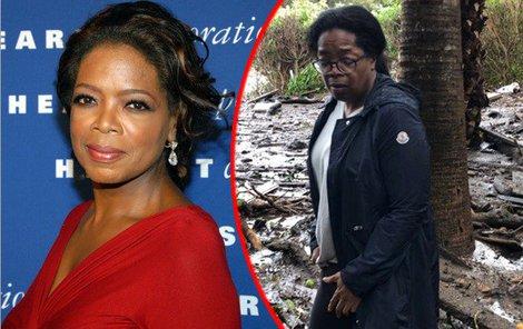 Oprah Winfrey se slzami v očích nevěřícně chodí po své kdysi tak krásné zahradě
