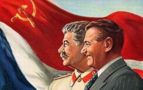 Gottwald a Stalin jako hrdinové míru na plakátech zaplavili Československo.