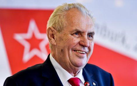 Miloš Zeman na sjezdu KSČM v Nymburku (21. 4. 2018)