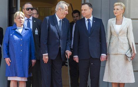 Prezident Miloš Zeman s manželkou Ivanou se setkal s polským prezidentem Andrzejem Dudou a jeho paní Agatou Kornhauser-Dudovou.
