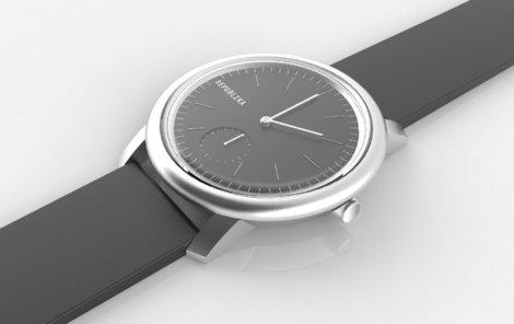 Vizualizace republikových hodinek ve stříbrném pouzdře s černým nabo bílým podkladem ciferníku.