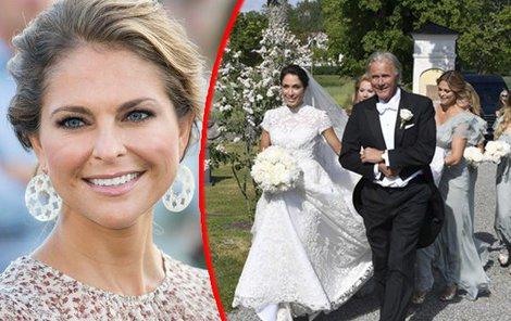 Louise si vzala Gustava Thotta (40) a vlečku jí před obřadem nesla švédská princezna Madeleine.