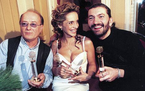 Vítězové za rok 1998 – zleva Petr Janda, Lucie Bílá a Daniel Hůlka.