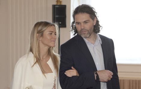 Jaromír Jágr s Veronikou Kopřivovou si nenechali ujít recepci na Hradě (28.9.2018)