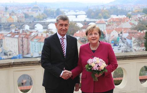 Andrej Babiš přivítal v Praze německou kancléřku Angelu Merkelovou