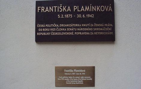 Františka Plamínková - pamětní deska