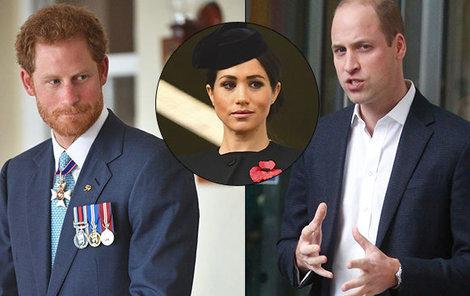 Princ Harry se zlobí na bratra kvůli Meghan. William ji totiž nemusí.