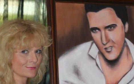 Autorka a portrét Elvise Presleyho.