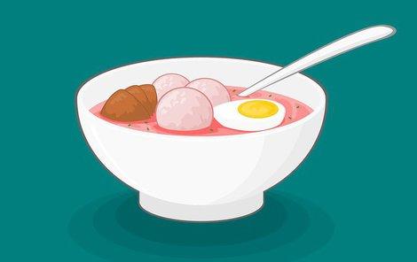 Polévka s vařeným vejcem