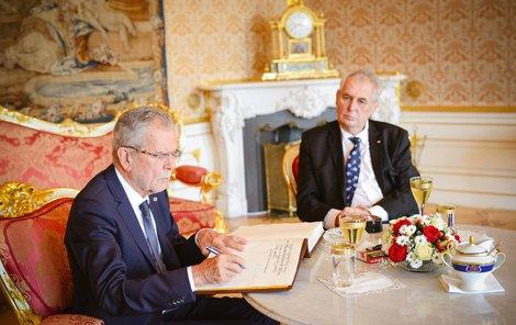 Rakouského prezidenta Van Der Bellena přijal Miloš Zeman na Pražském hradě v červnu 2017