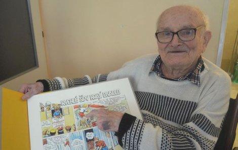 Skutečný Jindra Hojer ukazuje na kreslenou postavu Jindry Hojera.