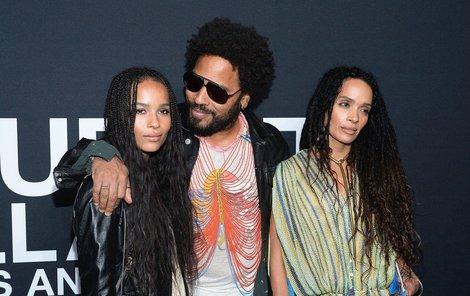 Lenny Kravitz s dcerou a její matkou.