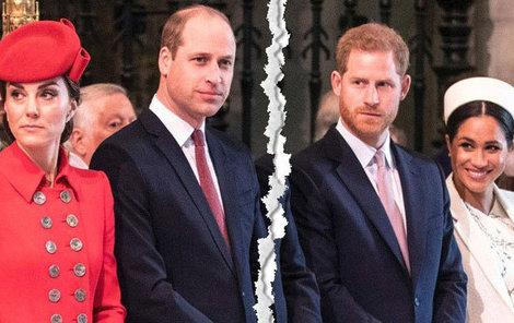 Manželství Williama s Kate a Harryho s Meghan rozdělilo oba bratry