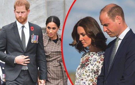 """Rozpad """"fantastické čtyřky"""" se začal ve chvíli, kdy Harry obvinil Williama s manželkou, že nedostatečně podporují vévodkyni Meghan"""