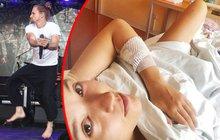 Vystoupení Tomáše Kluse (32) v rámci festivalu mohla brát jeho žena Tamara (30) za pořádnou provokaci. Zatímco on skákal na pódiu metr do výšky, ona nehybně ležela v nemocnici!