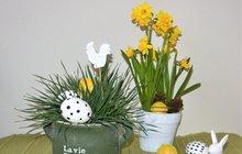 """Velikonoční dekorace: Sváteční stůl s """"nepravým"""" osením"""