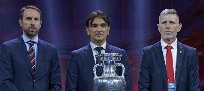 Trenér Anglie Gareth Southgate, trenér Chorvatska Zlatko Dalič a kouč české reprezentace Jaroslav Šilhavý po losu EURO 2020